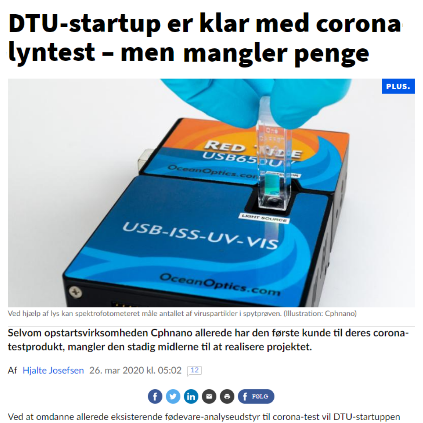 Article in Ingeniøren on our COVID-19 test